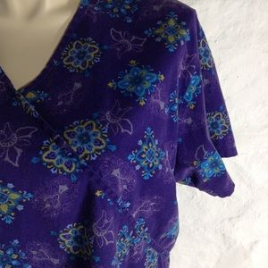 06293c9f04d Peaches Uniforms Tops - Peaches purple print scrub top